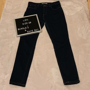 Levi's Dark Wash High Rise Skinny Jeans